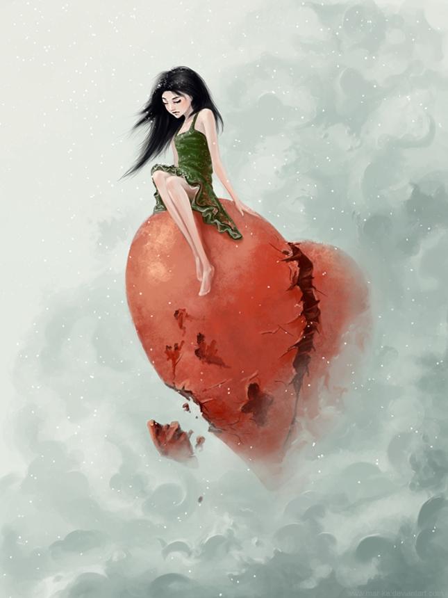 Девочка с разбитым сердцем рисунок