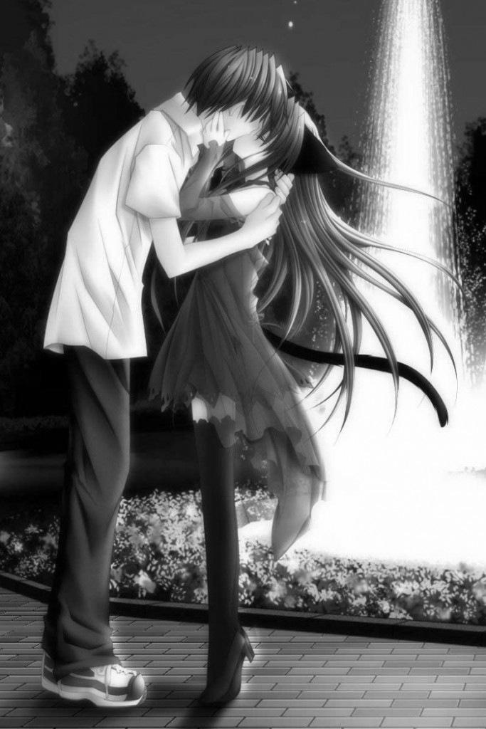 Фото Парень целуется с неко-девушкой