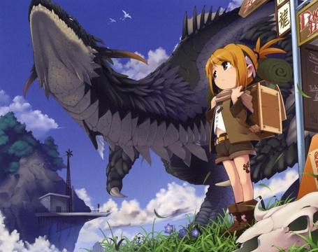 Фото Девушка собралась идти в школу, её охраняет серый дракон