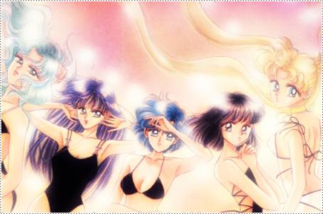 Фото Мичиру, Рей, Ами, Хотару и Усаги на пляже, аниме Сейлор Мун