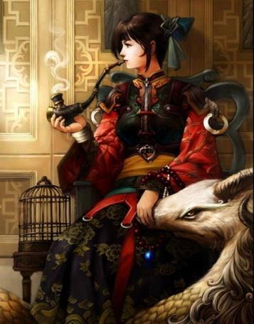 Фото Девушка с трубкой положила руку на морду дракона