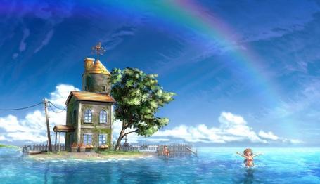 Фото Маленький островок, синее море, в небе радуга и брат с сестрой радостно бултыхаются в воде.. Чем не рай? (© Anatol), добавлено: 20.12.2010 19:07