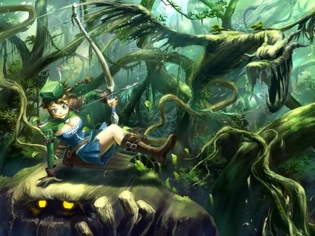 Фото Смелая охотница верхом на каком-то фантастическом животном несётся по дремучему лесу за добычей