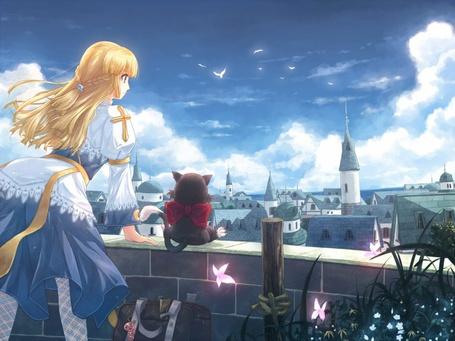 Фото Девушка с балкона осматривает открывающийся перед нею город, рядом восседает верный покемон