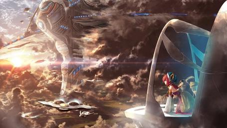 Фото Девушка сидит в смотровой рубке космического коробля, перед нею из облаков выступает огромное туловище трансформера.