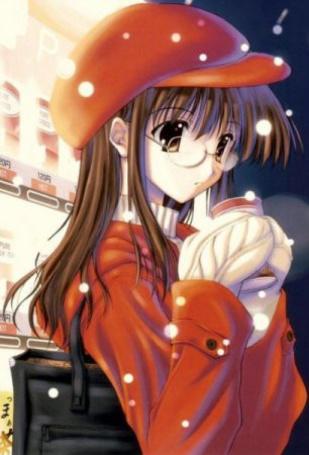 Фото Девушка в кепке держит в руках стакан с горячим напитком. Идёт снег