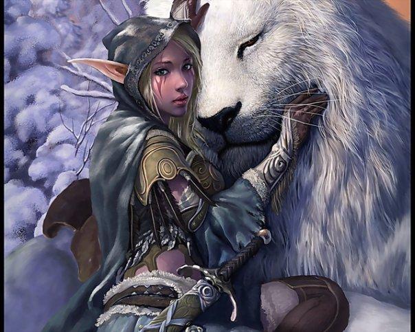 Фото Эльфийка обнимает белого льва