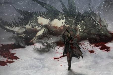 Фото Человек в плаще убивший дракона