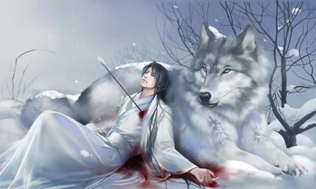 Фото Раненый стрелой в сердце юноша прислонился к верному другу-огромному белому волку.