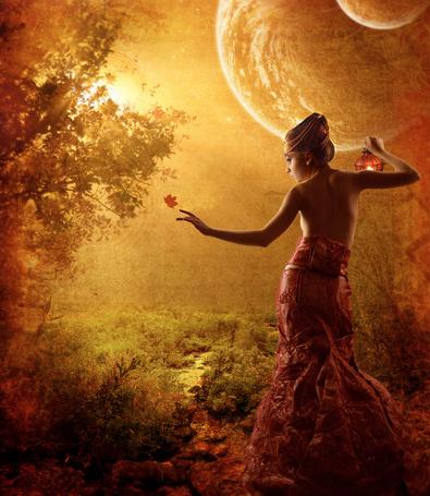 Фото Девушка в сказочном лесу