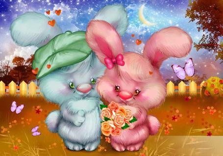 Фото Два влюбленных зайца