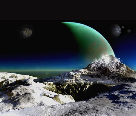 Фото зелёная планета за холмом (© Флориссия), добавлено: 07.01.2011 16:29