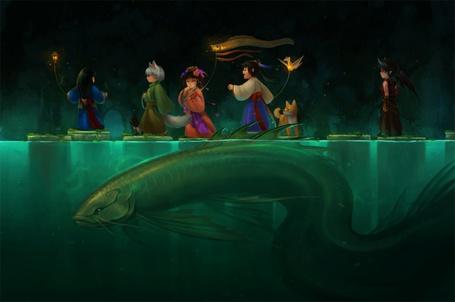 Фото Люди переходят воду в которой плавает огромная рыба (© Штушка), добавлено: 07.01.2011 19:00
