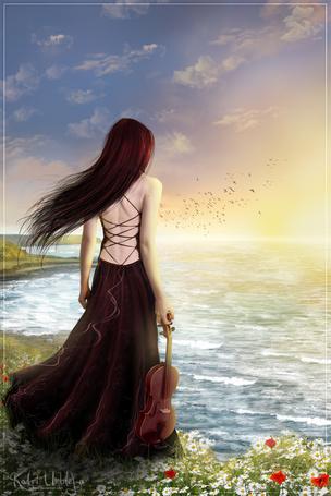 Фото Девушка со скрипкой смотрит на небо