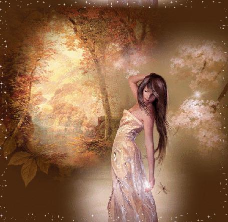 Фото Девушка и осенний пейзаж