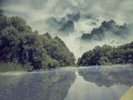 Фото ливень на озере (© Флориссия), добавлено: 18.01.2011 17:37