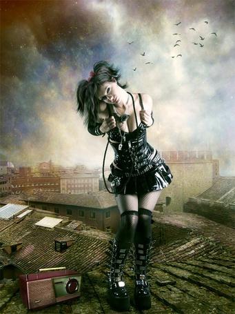 Фото Девушка исполняет прощальный танец на городской крыше