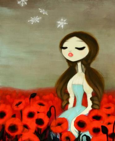 Фото Девушка на поле маков, в небе звёзды