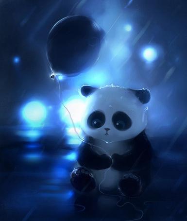 Фото панда с воздушным шариком