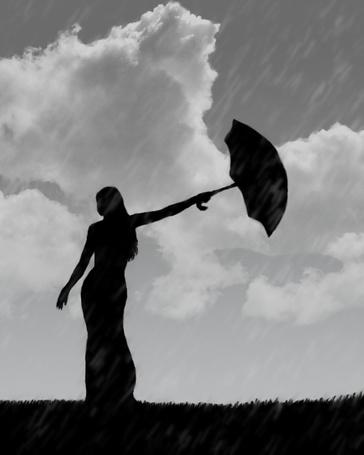 Фото силуэт девушки на фоне дождя (© Флориссия), добавлено: 20.02.2011 14:26