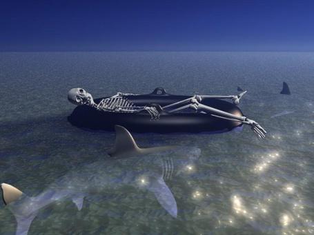 Фото скелет в лодке среди моря
