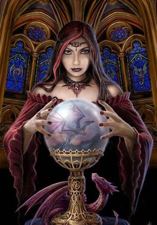 Фото Девушка видит в шаре летящего дракона (© Штушка), добавлено: 04.02.2011 22:03