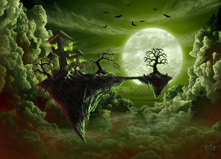 Фото Замок висит в воздухе на фоне луны