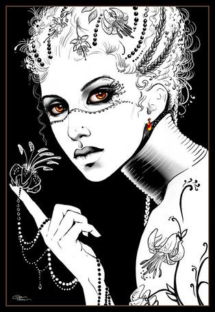 Фото Девушка с цветком на цепочке