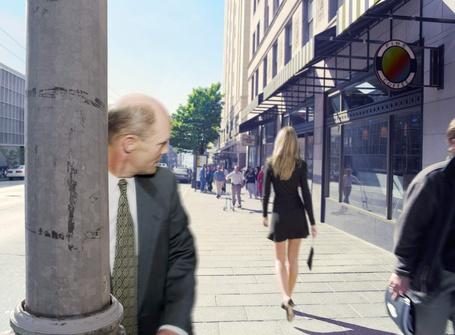 Фото мужчина смотрит на проходящую мимо девушку и не замечает в переди себя фанарный столб (© Alexsey11), добавлено: 08.02.2011 20:00