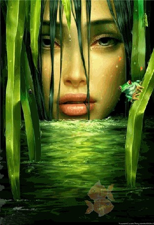 Фото гладь пруда с рыбками и лягушками на фоне грустного лица девушки...