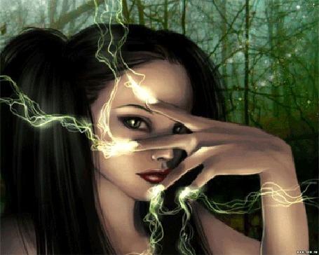 Фото Девушка , извергающая пальцами молнии...