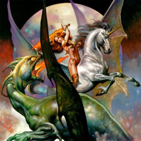 Фото Девушка верхом на единороге сражается с огнедышащем драконом