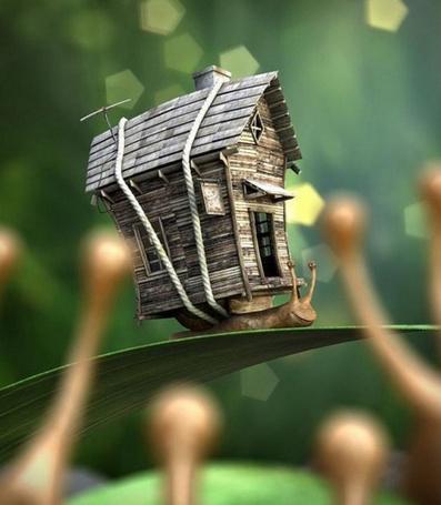 Фото Улитка несёт на себе деревянный домик (© Volkodavsha), добавлено: 07.03.2011 13:30