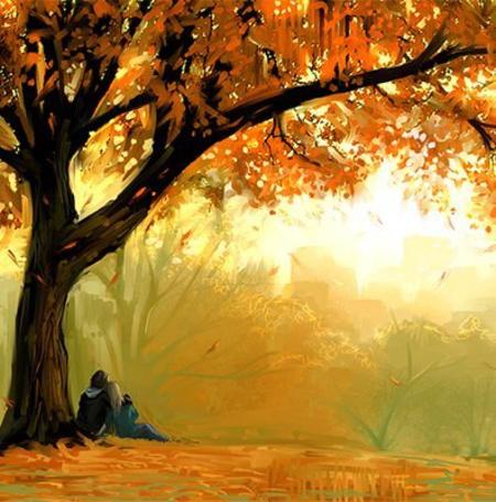 Фото Парочка сидит под деревом и смотрит на падающие листья (© Флориссия), добавлено: 09.03.2011 13:43