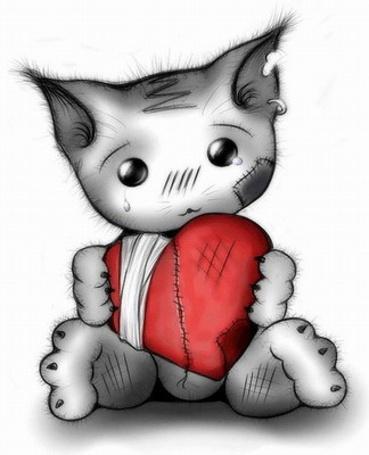Фото Плачущий котик с перевязанным сердцем (© Шепот_дождя), добавлено: 09.03.2011 23:57