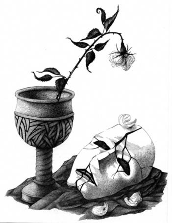 Фото Разбитая маска и увядшая роза в бокале