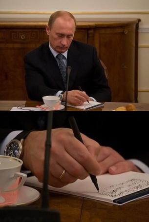 Фото Путин В. В. ведет запись