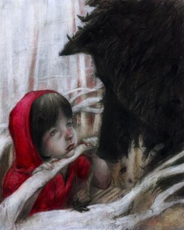 Фото Красная шапочка смотрит в глаза чёрному волку (© Флориссия), добавлено: 11.03.2011 13:00