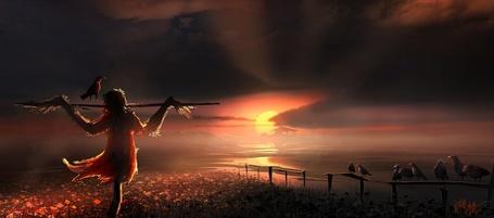 Фото Пугало на фоне заката