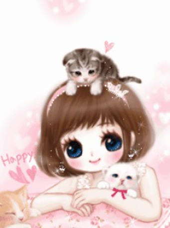 Фото Девочка обнимает игрушечного котёнка. Другой котёнок сидит у неё на голове (Happy)