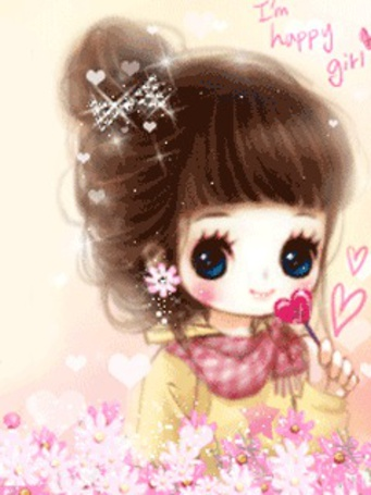 Фото Девочка с цветочком-сердечком (I'm Happy girl) (© Юки-тян), добавлено: 15.03.2011 14:46