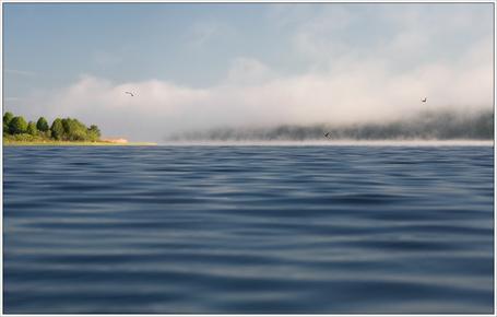 Фото Туман над гладью озера
