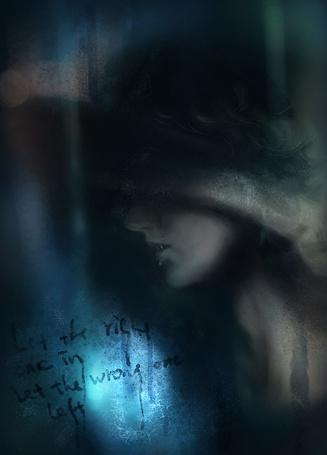 Фото Плачущий парень-вампир за запотевшем стеклом закрыл глаза рукой (Let the right one in let the wrong one left)