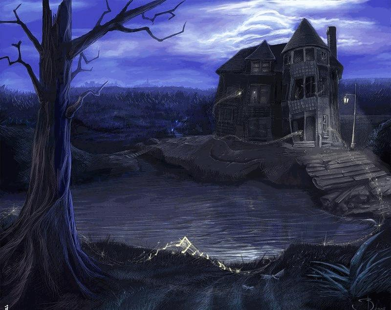 Фото готический дом у реки