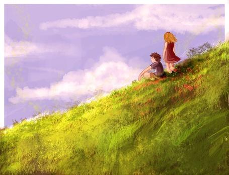 Фото Дети сидят на холме и смотрят на небо (© Флориссия), добавлено: 05.04.2011 12:19