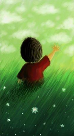Фото Мальчик тянется рукой к облакам