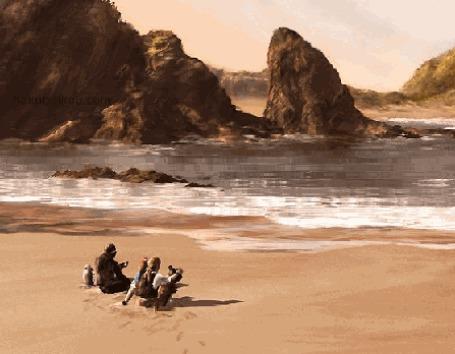 Фото Двое пиратов сидят на песке и смотрят в море