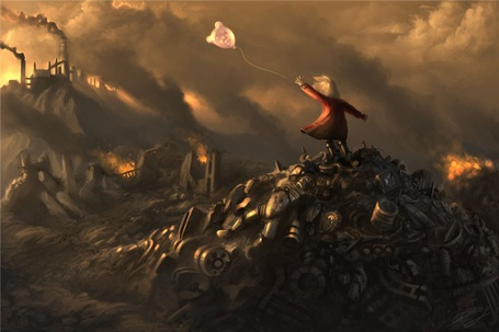 Фото Девочка стоит на развалинах в городе, отпуская в небо воздушный шарик