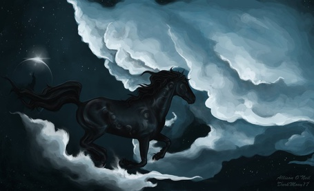 Фото Чёрный конь бежит по облакам (© Флориссия), добавлено: 24.04.2011 21:07