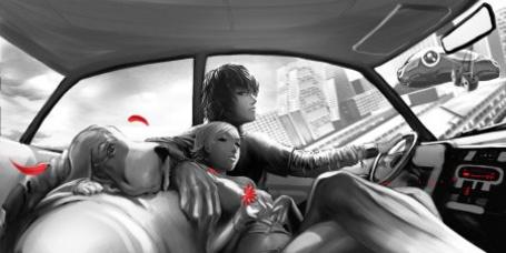 Фото Парень и девушка едут в машине с любимым псом